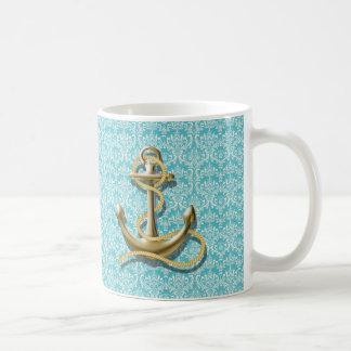 Taza De Café ancla náutica del marinero del damasco de la