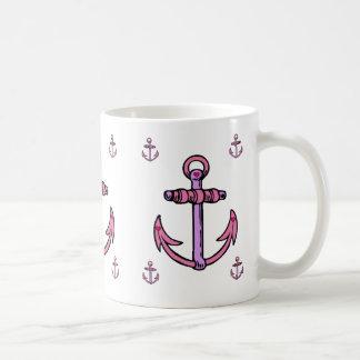 Taza De Café Anclas rosadas y púrpuras