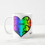 Taza De Café Aniversario lindo del corazón del arco iris del