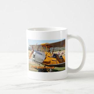 Taza De Café Apenas loco plano: Aviones del biplano de la