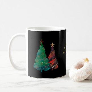 Taza De Café Árboles de navidad brillantes pintados a mano de