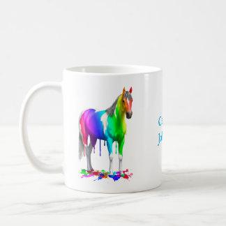 Taza De Café Arco iris colorido que gotea el caballo mojado de