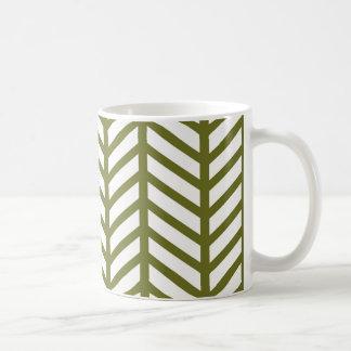 Taza De Café Armadura verde monótona de Chevron