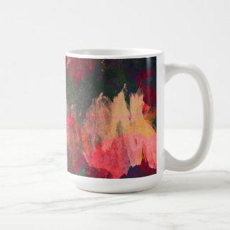 Taza De Café Arte abstracto, hojas de otoño, rosa rojo del oro