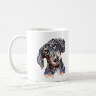 Taza De Café Arte colorido de la cabeza del perrito del