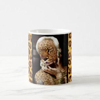 Taza De Café Arte de la foto de la mujer del leopardo