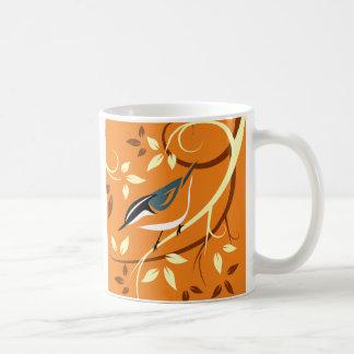 Taza De Café Arte estilizado del pájaro - trepatroncos