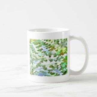 Taza De Café Arte pop abstracto del follaje en el verde blanco