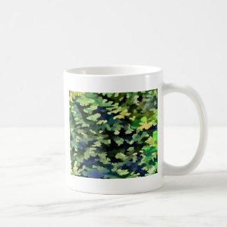 Taza De Café Arte pop abstracto del follaje en verde y azul