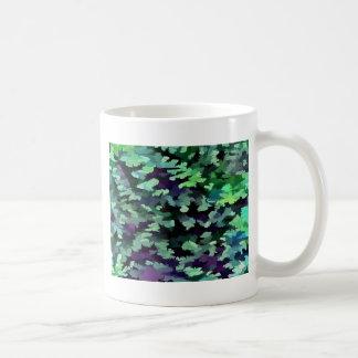 Taza De Café Arte pop abstracto del follaje en verde y púrpura