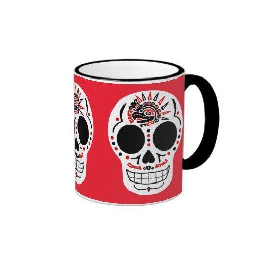 Taza de café azteca de CasaQ Eagle Calavera