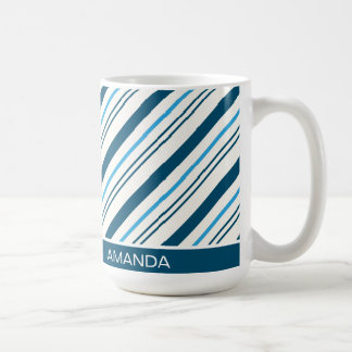 Taza de café azul del bastón de caramelo del