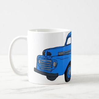 Taza de café azul del camión del vintage/taza