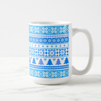 Taza de café azul del suéter del copo de nieve del