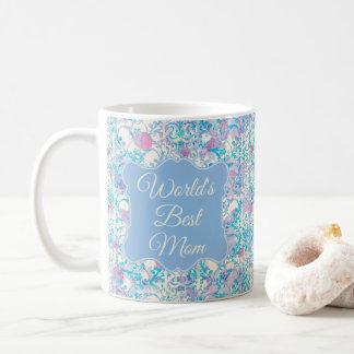 Taza De Café Azul floral del mejor damasco de la mamá del mundo