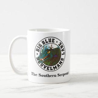 Taza De Café Azul grande, la serpiente meridional