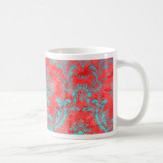 Taza De Café Azul rojo del regalo del estampado de flores del