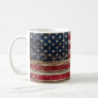 Taza De Café Bandera americana del vintage de madera