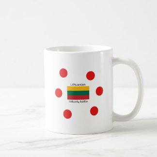 Taza De Café Bandera de Lituania y diseño lituano de la lengua
