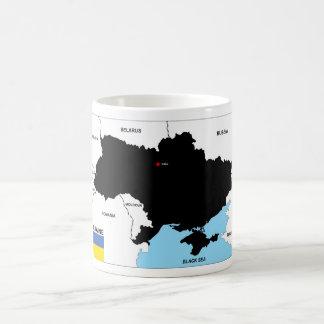Taza De Café bandera política del mapa del país de Ucrania