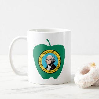 Taza De Café Bandera verde del estado de Apple Washington de la