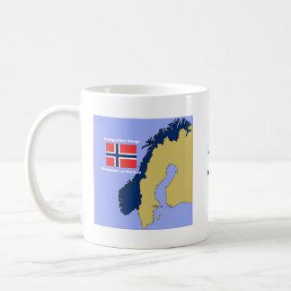 Taza De Café Bandera y mapa de Noruega