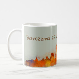 Taza De Café Barcelona es bona Skyline watercolor v03