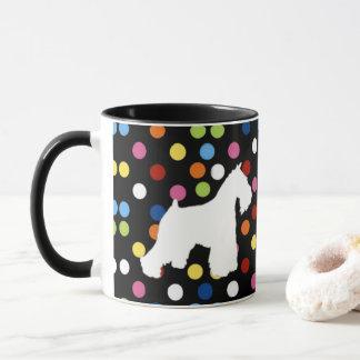 Taza de café blanca del lunar del Schnauzer