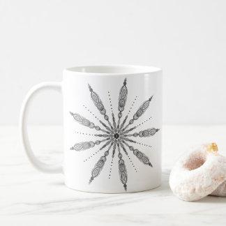 Taza De Café Blanco y negro, mandala, dibujo lineal, zen, gris