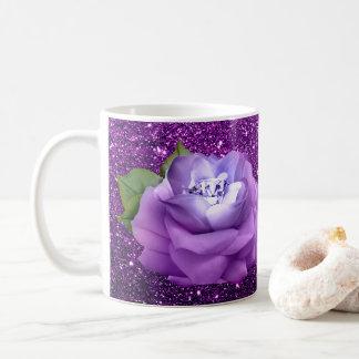 Taza De Café Brillo púrpura subió diamante de la lavanda falso