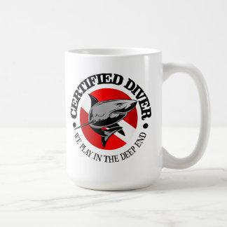 Taza De Café Buceador certificado (tiburón)