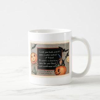 Taza De Café Búho del palo de la bruja de la calabaza de la