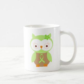 Taza De Café Búho verde claro de la conciencia de la cinta