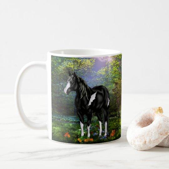 Taza De Café Caballo blanco y negro de la pintura de Overo