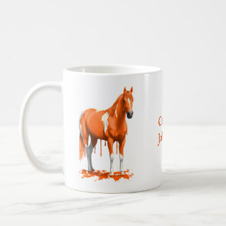 Taza De Café Caballo mojado de la pintura del goteo anaranjado