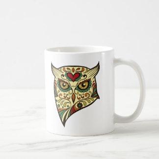 Taza De Café Cabeza del búho del cráneo del azúcar