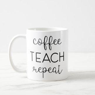 Taza De Café Café. Enseñe. Repita