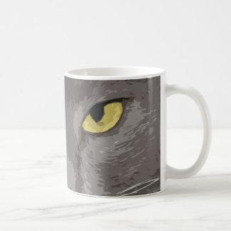 Taza De Café Cara gris artística del gato