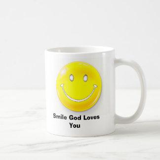 Taza De Café cara sonriente, amores de dios de la sonrisa usted