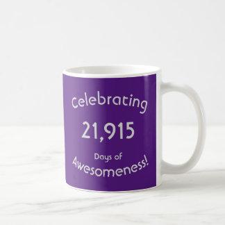 Taza De Café Celebración de 21.915 días de cumpleaños de