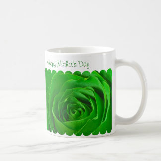 Taza De Café Centro feliz del rosa verde del día de madre