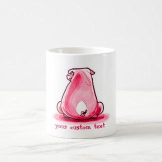 Taza De Café cerdo imprudente que se sienta en el piso