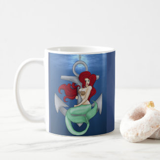 Taza De Café Chica modelo, sirena del ancla debajo del océano