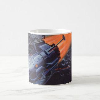 Taza De Café Ciencia ficción del vintage, luna Rocket que