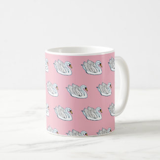 Taza De Café Cisnes blancos en rosa -