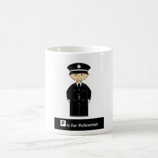 Taza de café clásica del policía