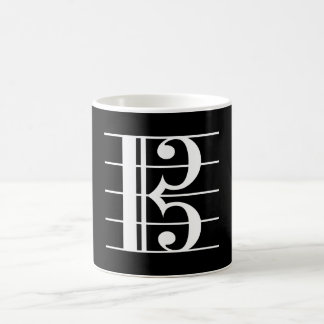 Taza De Café Clef de alto Blanco-en-Negro