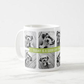 Taza De Café Collage con la cinta de encargo del texto - verde