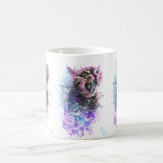 Taza De Café Color de agua del gato del rugido