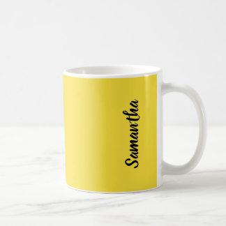 Taza De Café Color sólido amarillo soleado del ranúnculo